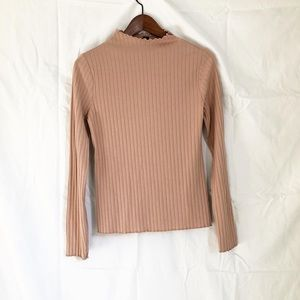 Forever 21 ribbed long sleeve dusty rose top